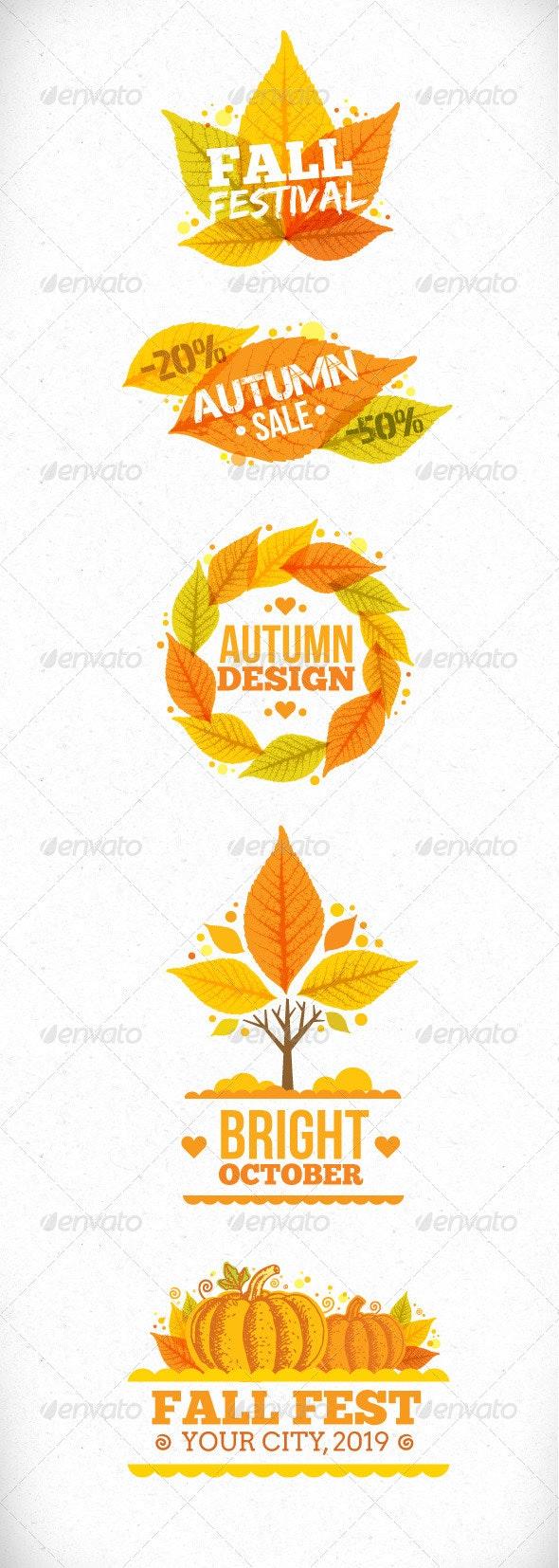 Autumn Leaves Vector Art Design Elements - Seasons Nature
