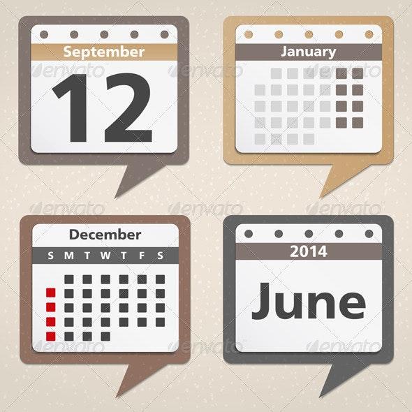 Calendar Icons - Web Elements Vectors
