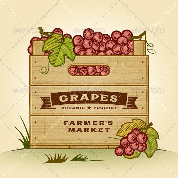 Retro Crate Of Grapes