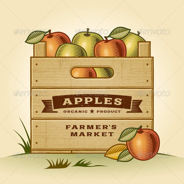 Retro Crate of Apples