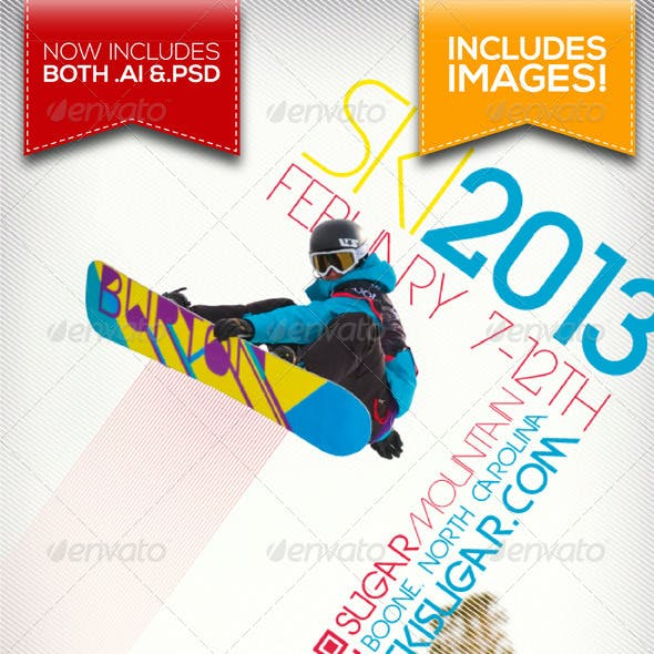 A4 Ski & Snowboard Winter Event/Party Flyer