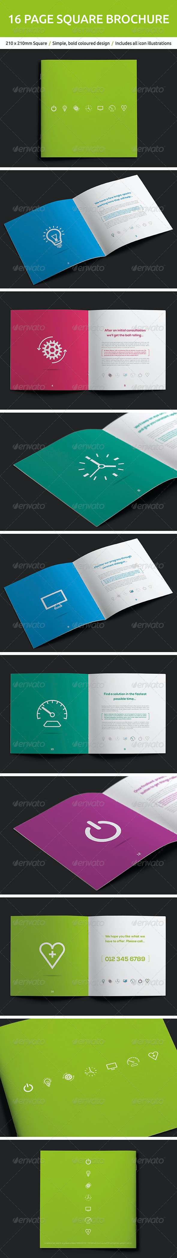 16 Page Square Brochure - Brochures Print Templates