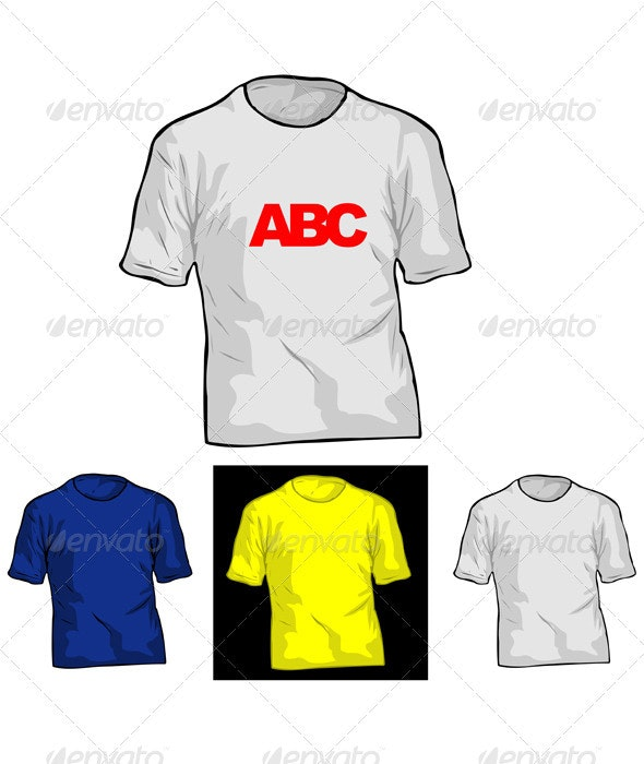 Color and White TShirt Templates. - Man-made Objects Objects
