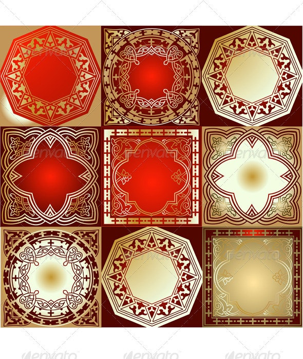 Red Gold Various Quad Ornament - Retro Technology