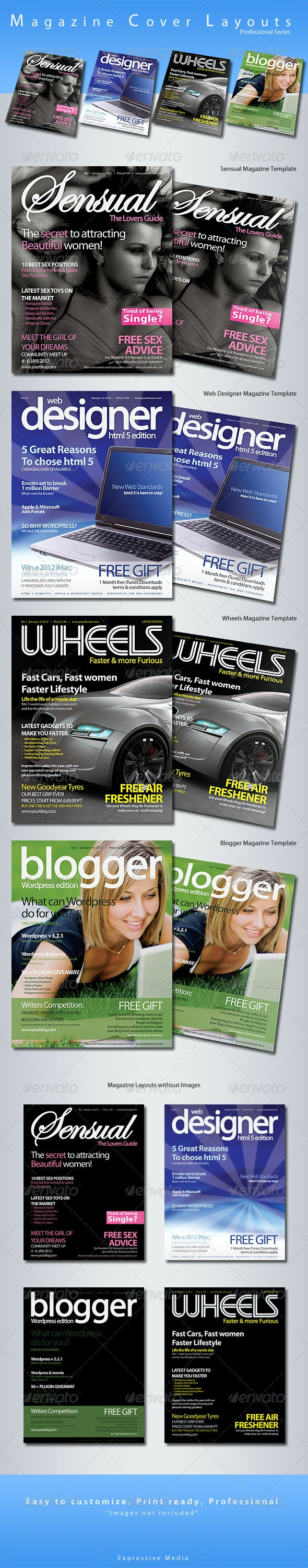 Magazine Cover Layouts - Pro Series - Magazines Print Templates