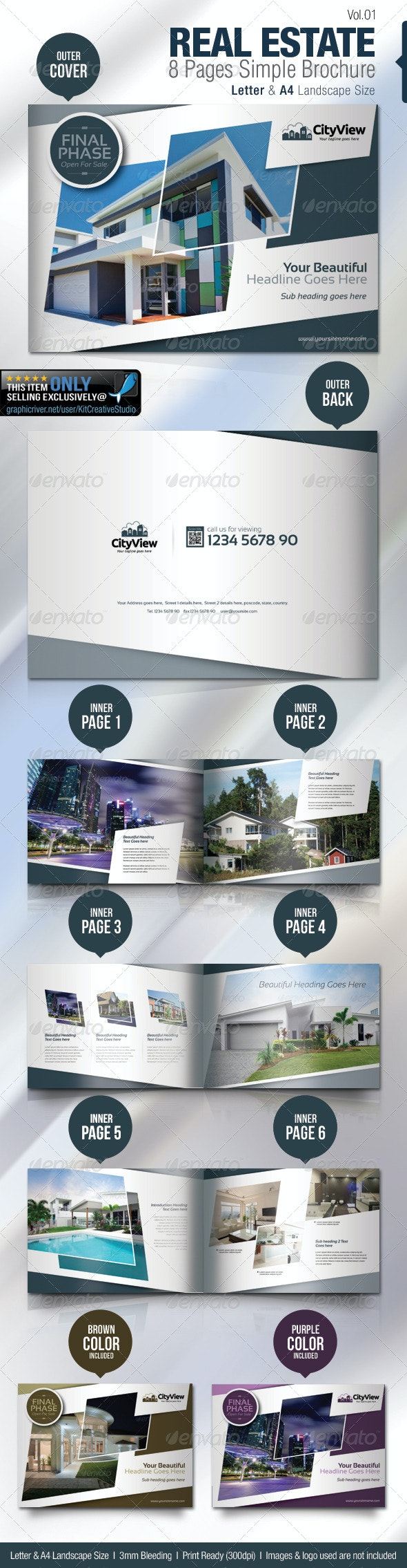 Real Estate 8 Pages Simple Brochure - Brochures Print Templates