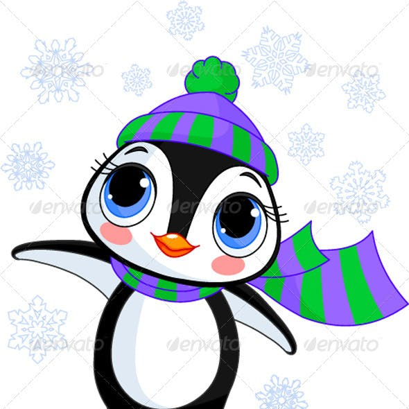 Winter penguin with hat and scarf