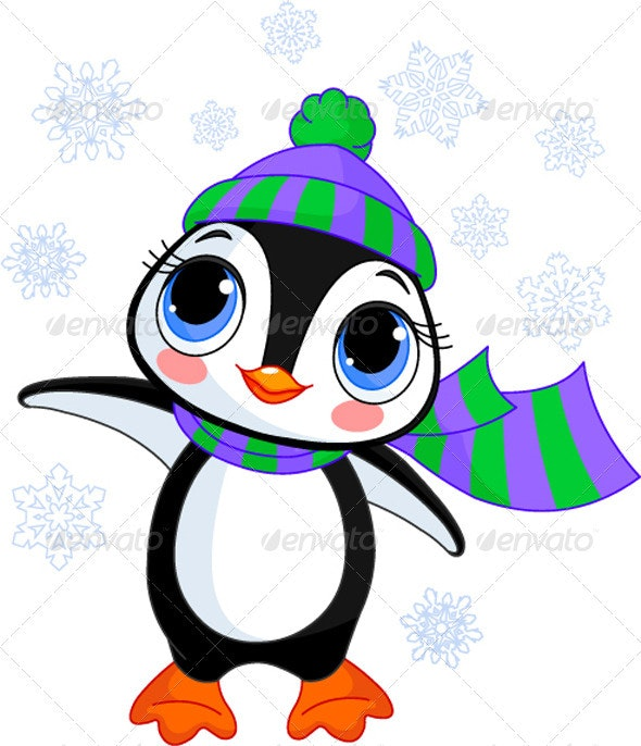 Winter penguin with hat and scarf - Animals Characters