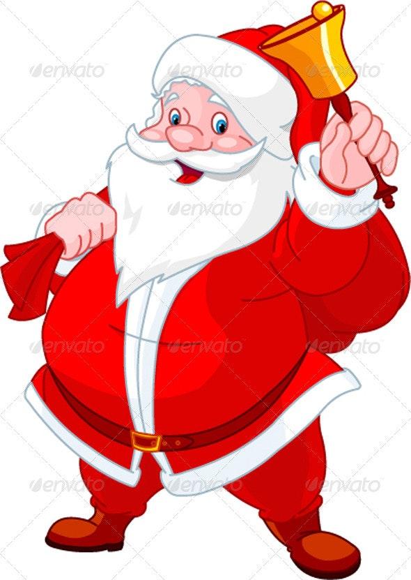 Happy Santa with bell - Christmas Seasons/Holidays