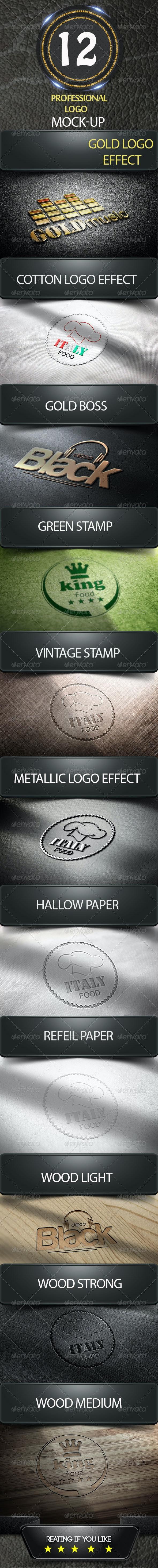 12 Photorealistic Logos Mock-Up Pack - Logo Product Mock-Ups