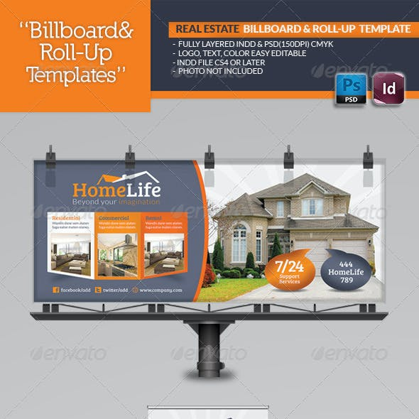 Real Estate Billboard & Roll-Up Template