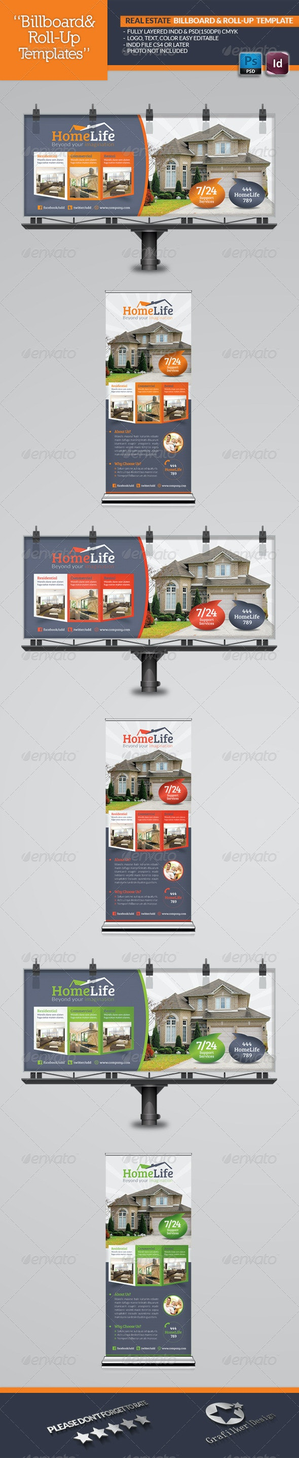 Real Estate Billboard & Roll-Up Template - Signage Print Templates