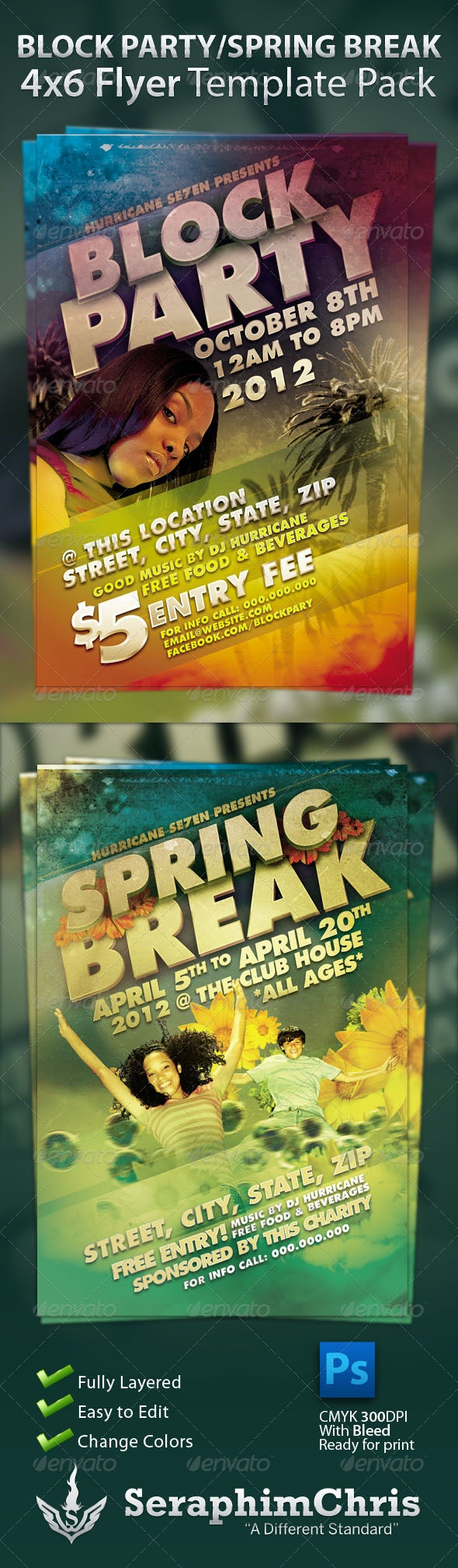 Block Party and Spring Break Flyer Template Pack - Clubs & Parties Events