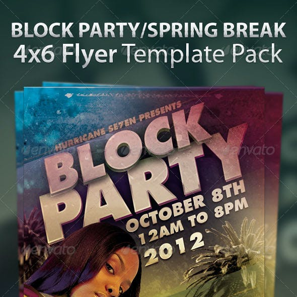 Block Party and Spring Break Flyer Template Pack