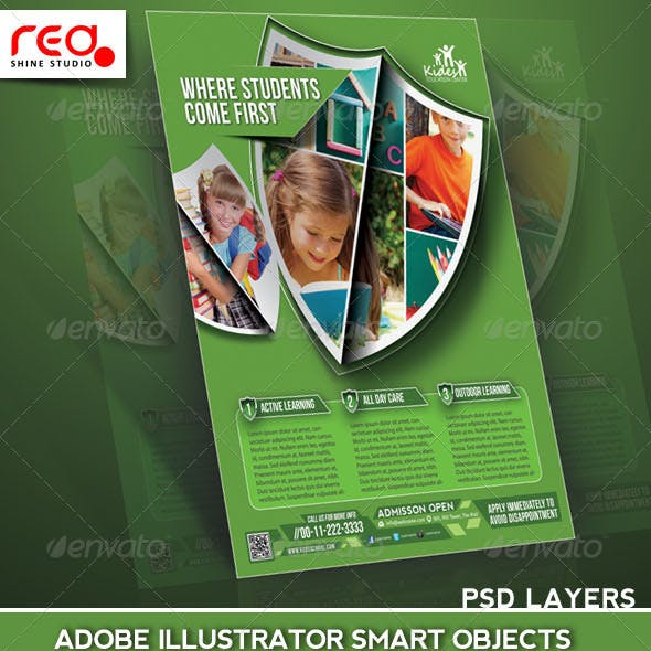 Download Kids Academy Flyer Poster Magazine Template