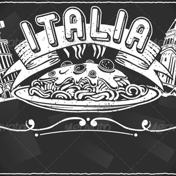 Vintage Graphic for Italian First Course Menu
