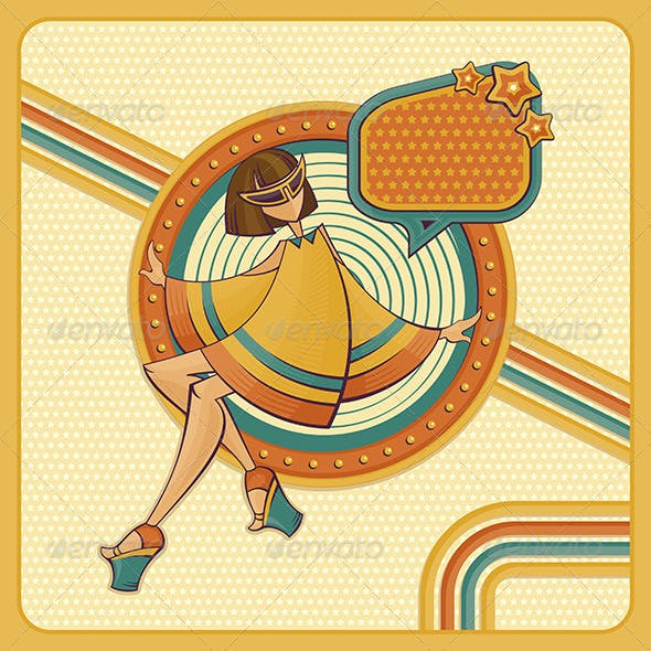 Card With Girl In Retro Style