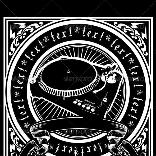 Black And White DJ Player Ornate Quad.