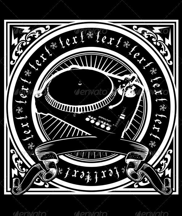 Black And White DJ Player Ornate Quad. - Objects Vectors