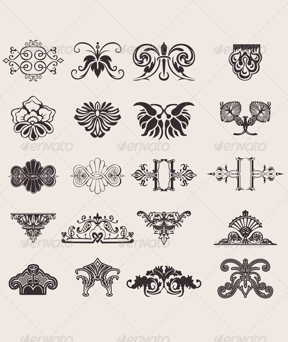 Set Of 20 One Color Ornate Design Elements - Abstract Conceptual
