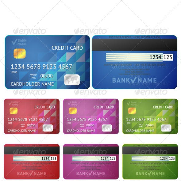 Set of Realistic Credit Card
