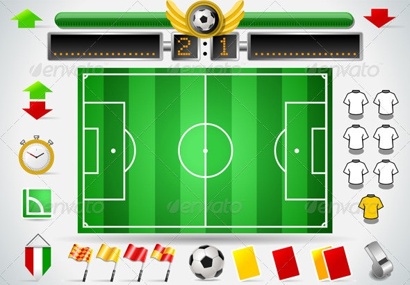 Infographic Set of Soccer Field and Icons - Sports/Activity Conceptual