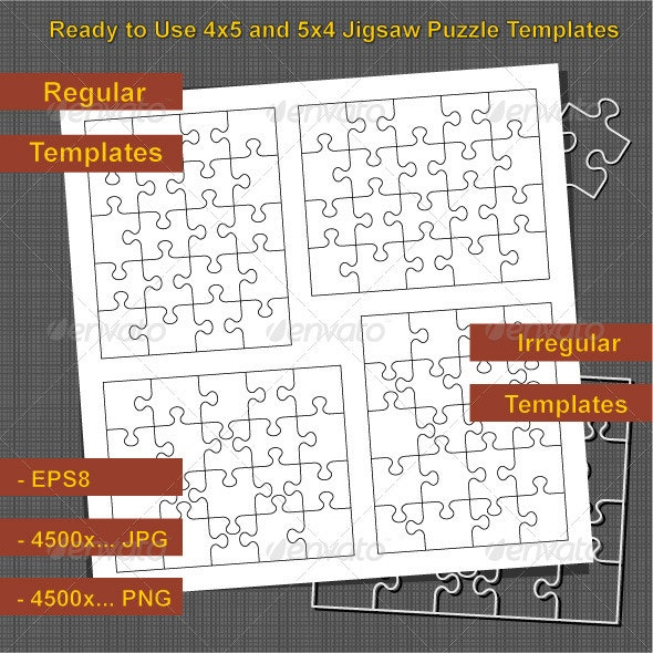 Jigsaw Puzzle 4x5 and 5x4 Blank Templates - Abstract Conceptual