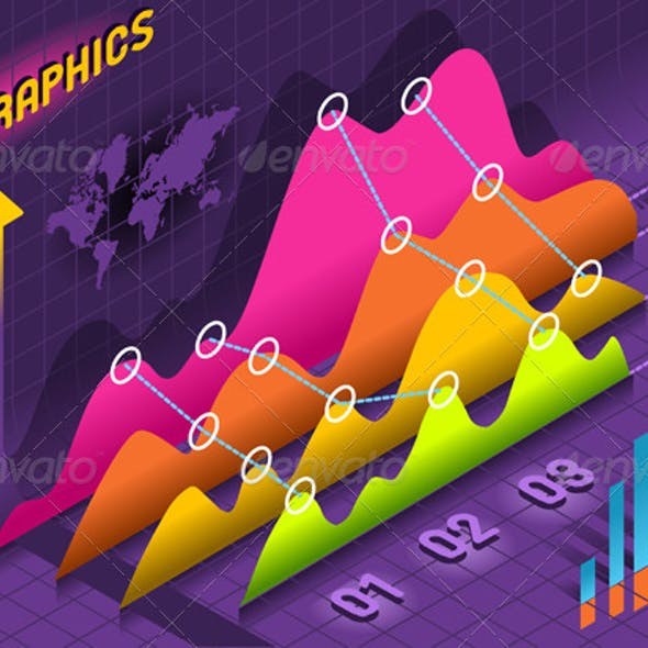 Isometric Infographic Histogram Set Elements