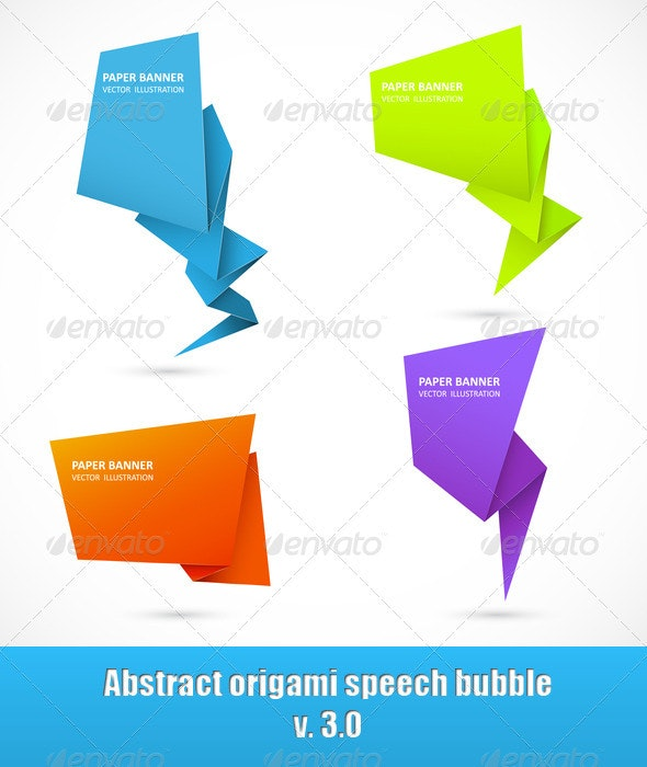 Abstract origami speech bubble. Set 3 - Backgrounds Business