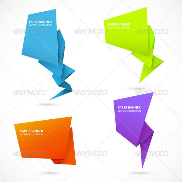 Abstract origami speech bubble. Set 3
