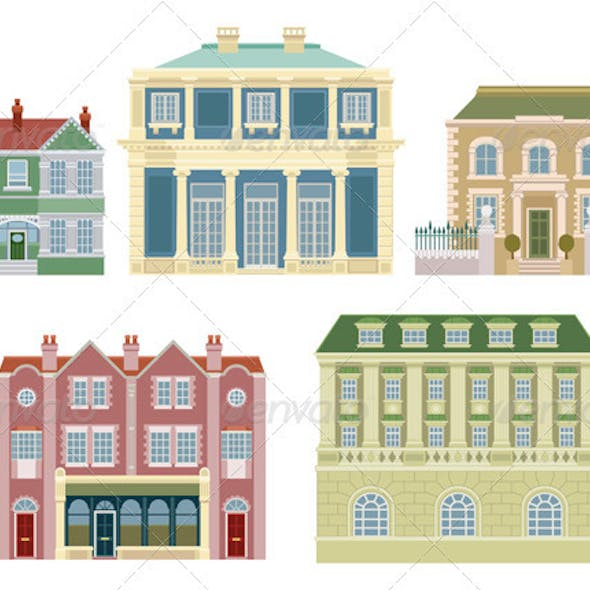 Luxury old fashioned houses buildings