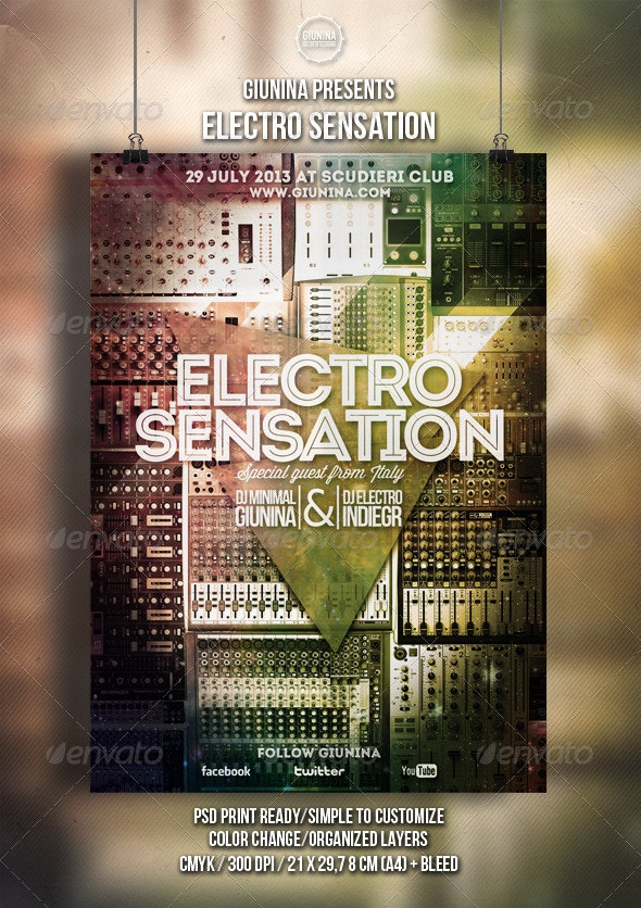 Electro Sensation Flyer/Poster - Clubs & Parties Events