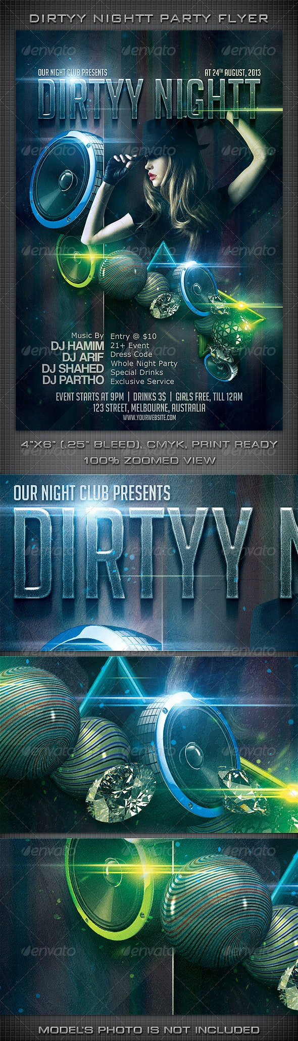 Dirtyy Nightt Party Flyer - Clubs & Parties Events