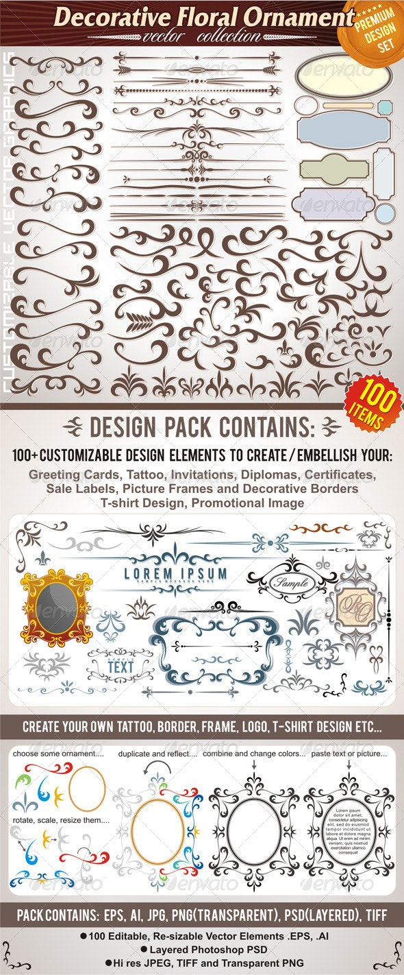 Calligraphic & Floral Design Elements. Vector Pack - Flourishes / Swirls Decorative