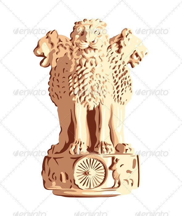 Indian emblem of Ashoka Lions - Man-made Objects Objects