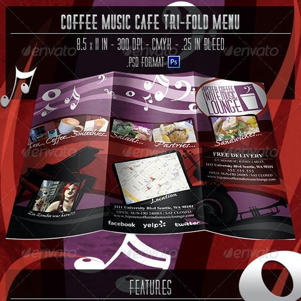 Coffee Music Cafe Tri-fold Menu