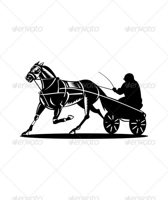 Horse and Jockey Harness Racing Retro by patrimonio