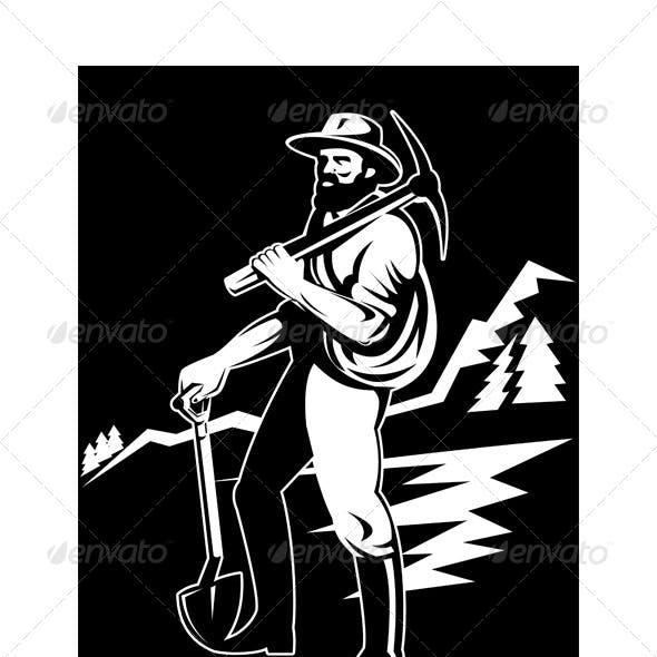 Gold Prospector Miner Retro