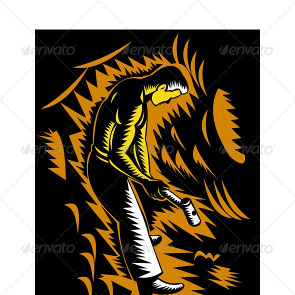 Coal Miner Sledgehammer Woodcut Retro