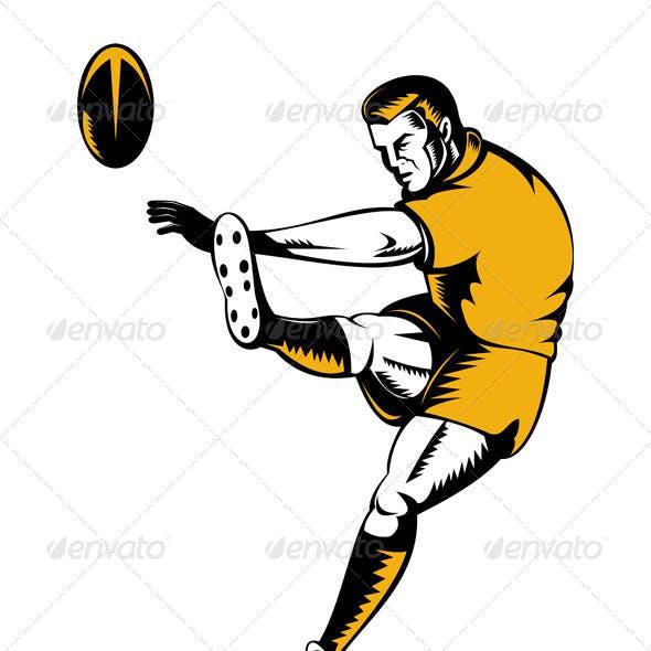 Rugby Player Kicking Ball Woodcut Retro