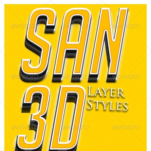 SAN 3D Layer Styles