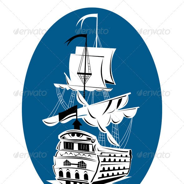 Spanish Galleon Sailing Ship Retro