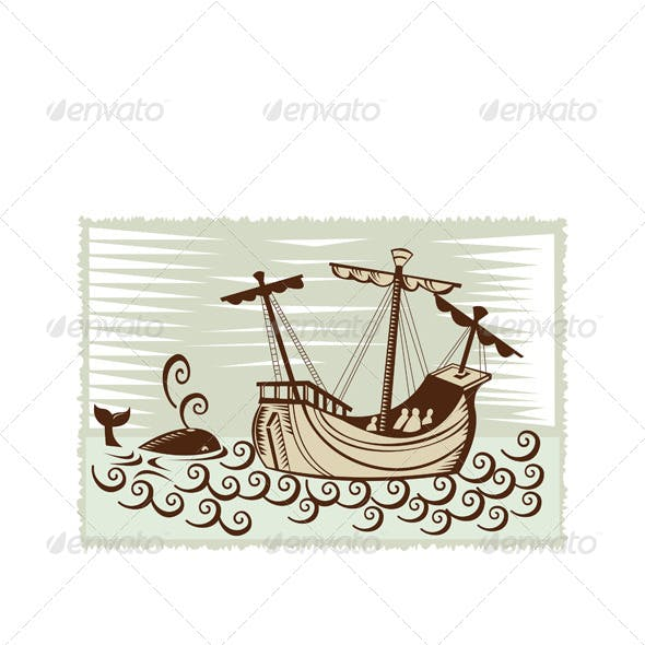 Whale Spanish Galleon Sailing Ship Retro