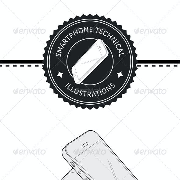 Smartphone Technical Illustration Vector Pack