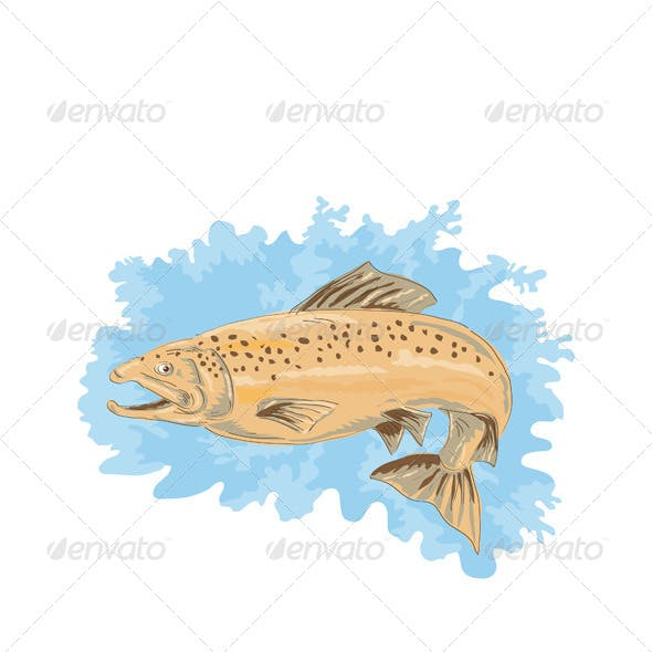 Brown Trout Fish Jumping Retro