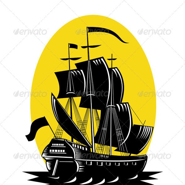 Spanish Galleon Sailing Ship Woodcut