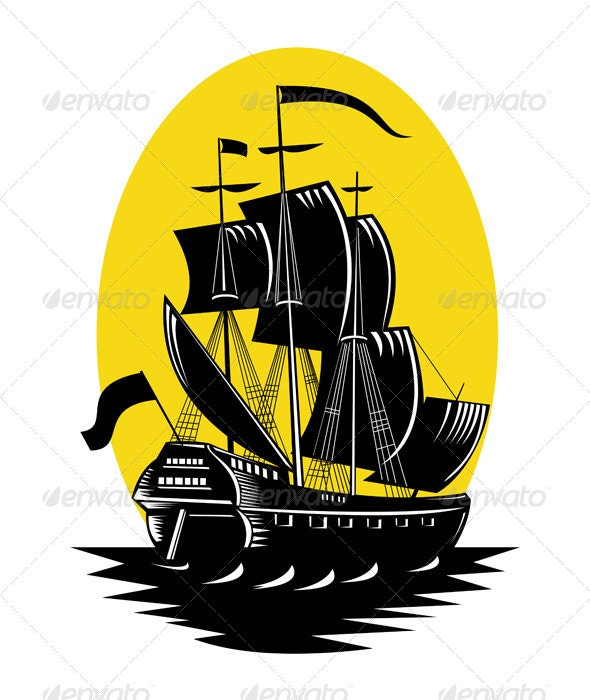 Spanish Galleon Sailing Ship Woodcut - Industries Business