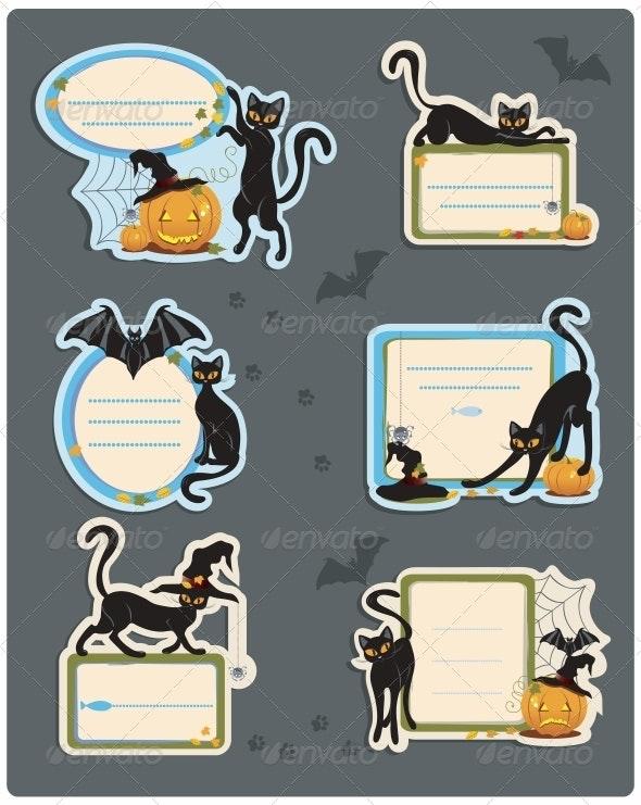 6 Cat Halloween Labels