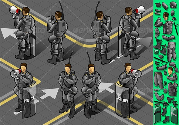 Isometric Set of Eight Standing Policeman