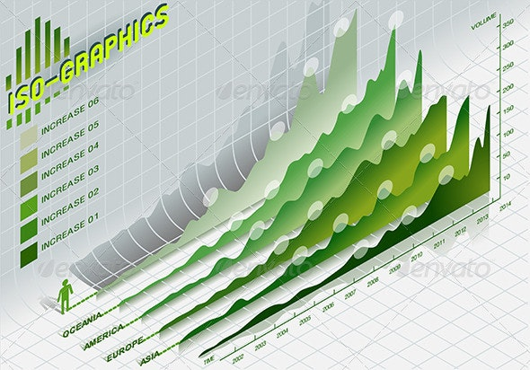 Isometric Infographic Set Elements in Green